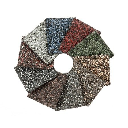 roofing material asphalt shingles samples of various colors