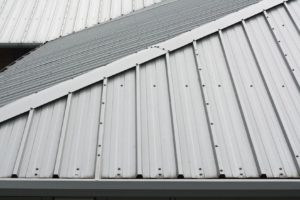 17800728 - architectural detail of metal roofing on commercial construction of modern building complex
